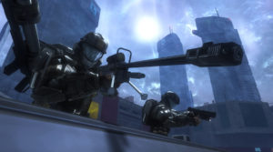 Halo 3 ODST player holding a sniper rifle with a rocket launcher on their back