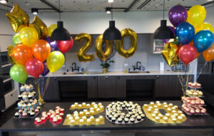 200 employee celebration with cupcakes and balloons