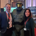Paul Fogolin, Director, Policy at the Entertainment Software Association of Canada along with Mojdeh Gharbi and Master Chief during Video Games on the Hill 2020